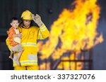 firefighter  fireman rescued... | Shutterstock . vector #337327076