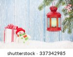 christmas candle lantern  gift...   Shutterstock . vector #337342985