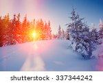 majestic winter landscape... | Shutterstock . vector #337344242