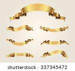 ribbon banner set.golden... | Shutterstock .eps vector #337345472