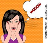 surprised woman with wow speech ... | Shutterstock . vector #337359236
