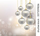 silver christmas toys on... | Shutterstock .eps vector #337359836