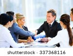 business colleagues sitting at... | Shutterstock . vector #337368116