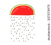 cute rain of watermelon seeds.... | Shutterstock .eps vector #337373975