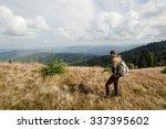 stylish beautiful traveling man ... | Shutterstock . vector #337395602