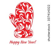 red glove with floral ornament... | Shutterstock .eps vector #337414322