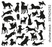 Stock vector set of dogs silhouette collection of vector silhouette beautiful vector design 337424252