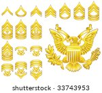 Set of military american army enlisted rank insignia icons - stock vector