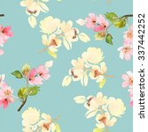 seamless pattern with flowers... | Shutterstock . vector #337442252