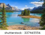 spirit island in maligne lake ... | Shutterstock . vector #337465556