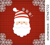 santa on knit background.... | Shutterstock .eps vector #337467722