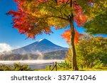 Stock photo mt fuji japan from kawaguchi lake in the autumn season 337471046