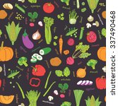 vector vegetables pattern.... | Shutterstock .eps vector #337490468
