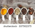spices. spice in wooden spoon.... | Shutterstock . vector #337502375