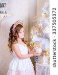 beautiful little girl decorate... | Shutterstock . vector #337505372