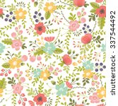 seamless pattern with floral... | Shutterstock .eps vector #337544492