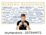 Small photo of Student looking determined holding binoculars Academic Achievement White board (opportunity, learn, aptitude, dream, desire, determination, goal, intelligence, resources, staying power)