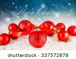 christmas background with red...   Shutterstock . vector #337572878