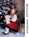 beautiful child sitting near... | Shutterstock . vector #337575788