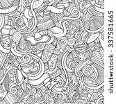 cartoon hand drawn doodles on... | Shutterstock .eps vector #337581665