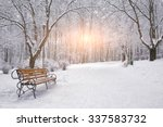 Snow Covered Trees And Benches...