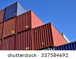 cargo container yard  the port...   Shutterstock . vector #337584692
