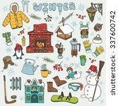 winter season doodle set... | Shutterstock .eps vector #337600742