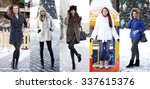 Collage Winter Fashion. Young...