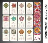 calendar 2016. vintage... | Shutterstock .eps vector #337617722