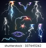 realistic lightnings on... | Shutterstock .eps vector #337645262