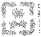 vector set of black and white... | Shutterstock .eps vector #337661222