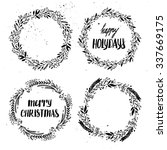 Hand drawn vector illustration. Vintage decorative kit of christmas laurels and wreaths. Perfect for invitations, greeting cards, blogs, posters and more. Merry christmas and happy new year