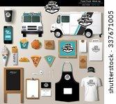vector food truck corporate... | Shutterstock .eps vector #337671005