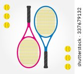 tennis racket and tennis balls. ... | Shutterstock .eps vector #337679132