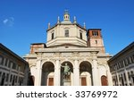 View of St. Lorenzo church against blue sky, Milan, Italy - stock photo
