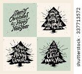 retro vintage minimal merry... | Shutterstock .eps vector #337713572