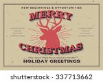 retro vintage merry christmas... | Shutterstock .eps vector #337713662
