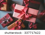 gifts for holiday top view.  | Shutterstock . vector #337717622