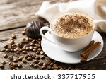 hot coffee and pastries on a... | Shutterstock . vector #337717955