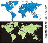 fully editable vector world map ... | Shutterstock .eps vector #33772009