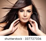 fashion model  with beauty long ... | Shutterstock . vector #337727336