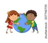 Kids Hugging Planet  Vector...