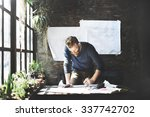 man working determine workspace ... | Shutterstock . vector #337742702