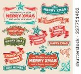 christmas retro design icon set ... | Shutterstock .eps vector #337751402