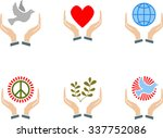 set of peace sign in the hands   Shutterstock .eps vector #337752086