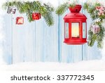 christmas candle lantern and... | Shutterstock . vector #337772345