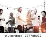 diverse people friends hanging... | Shutterstock . vector #337788032