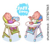 two kids in baby highchair.... | Shutterstock .eps vector #337807865