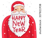 cute and funny santa claus in a ... | Shutterstock .eps vector #337821938