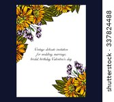 invitation with floral... | Shutterstock . vector #337824488
